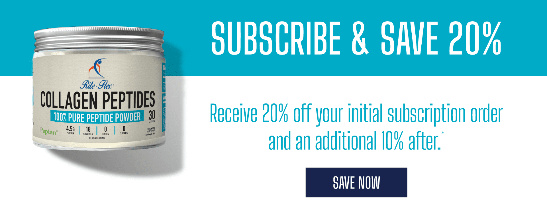subscribe and save 20% on your initial subscription order of collagen powder